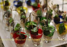 Lamb Kofta Verrines ~ Tiny, flavouful bites of minced lamb, chockful of fresh mint, coriander, and Moroccan spices, on a bite of herby couscous. Served with a teensy fork in small, assorted verrine glasses. 36 of them! ~ marie, the EpicureanPiranha