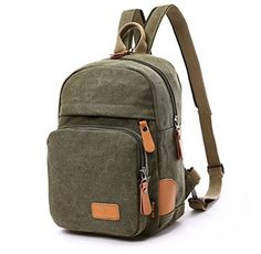 KISS GOLDTM Multipurpose Sporty Canvas Chest Bag  Satchel Backpack Knapsack Army Green *** Check out the image by visiting the link.