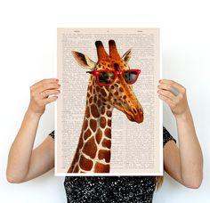 Cool Giraffe poster, A3 poster ,funny animal art, Wall art home decor ,Nursery art , Giclee poster, Animal art, poster print  BPAN08P