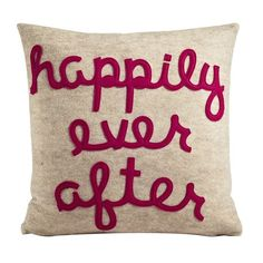 Happily Ever After oatmeal and fuchsia- 16 inch recycled felt applique pillow by Alexandra Ferguson Applique Pillows, Felt Applique, Throw Pillows, Accent Pillows, Diy Pillows, My Funny Valentine, Valentines, Do It Yourself Inspiration, The Design Files