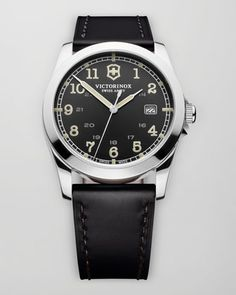 Infantry Leather Watch, Black by Victorinox Swiss Army at Neiman Marcus.