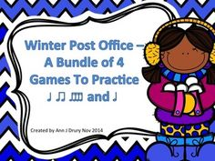 This winter themed file contains 4 games, each with 12 different rhythm patterns:  Game One - Quarter notes (ta) and paired eighth notes (ti-ti) Game Two - Quarter rest (ta rest) Game Three - Half notes (ta-a) and Game Four - Sixteenth notes (ti-ka-ti-ka)  Students could work in small groups or as individuals.