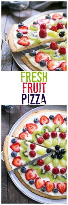 Fresh Fruit Pizza A vibrant delicious dessert pizza with a sugar cookie crust and cream cheese frosting lizzydo Brownie Desserts, Mini Desserts, Easy Desserts, Delicious Desserts, Yummy Food, Summer Desserts, Individual Desserts, Fruit Recipes, Cookie Recipes