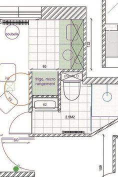 Plan du studio parisien de 20 m2.