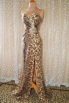 Leopard Sequin Prom Pageant Evening Formal Gala Wedding Long Gown Dress M 8 10 | eBay