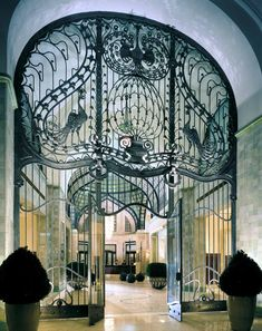 Iron gate entrance at the Four Seasons Hotel in Budapest.