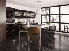 Black Kitchen design featuring rounded display upper cabinets. Image via beautifulinterior.net