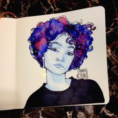 New doodle on my YouTube channel. YouTube.com/kiarasstudio or follow the link in my bio to get to my page #art #arte #artwork #artoftheday #artofvisuals #artist #artstagram #color #draw #drawing #doodle #freehand #girl #instaart #pen #pencil #portrait #prismacolor #sketch #sketchbook #sketchaday #sketches #wip #melanin #galaxy #watercolor
