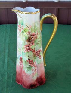 Haviland Limoges water pitcher grape vine Pattern with Gold encrusted Trim  #TheodoreHaviland