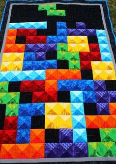 Tetris teenager boy Quilt