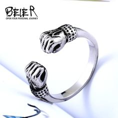 446d703600 Clenched his fists Symbol of strength ring Stainless Titanium Steel Punk  Rock fashion for men jewelry