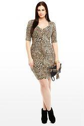 Leopard Animal Print Midi Dress (Plus Size)
