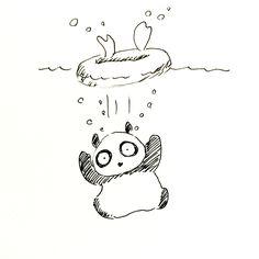 【一日一大熊猫】 2015.8.14 浮き輪が抜けて溺れる事があるから マジで気をつけて! #パンダ http://osaru-panda.jimdo.com