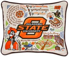 This original design celebrates Oklahoma State University. Go Cowboys! This pillow is embroidered on a light tea-color cotton cover that zips off for cleaning. Accented with black piping. - Oklahoma & Route 66 - National Cowboy Museum