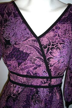 Style & Co Top M Purple Stretch Knit Floral TieBack Blouse Empire Surplice Shirt