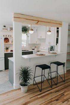 Kitchen Room Design, Home Decor Kitchen, Kitchen Living, Kitchen Interior, Home Kitchens, Kitchen Ideas, Kitchen Island Room Divider, Half Wall Kitchen, Kitchen Bar Counter