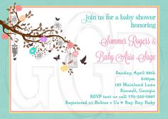 Bird Cage Flower  Baby Shower, Sprinkle or Birthday Invitation-Digital File on Etsy, $12.00
