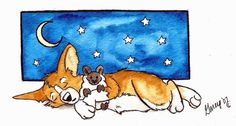 A corgi taking a nap with his little plushie sheep. watercolors with pen/ink outlining Sleepytime Corgi Corgi Cartoon, Cute Puppies, Cute Dogs, Corgi Drawing, Corgi Dog, Sleeping Dogs, Artist At Work, Cool Art, Artsy