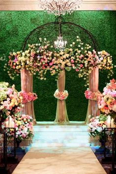 """Why We Love It: Get the look and feel of a garden wedding indoors with a beautiful grass-covered backdrop!Why You Love It: """"Very Beautiful!!!!"""" Patricia A. """"So elegant and classy."""" Brittany S.Photo Credit: Wildflower Linens"""