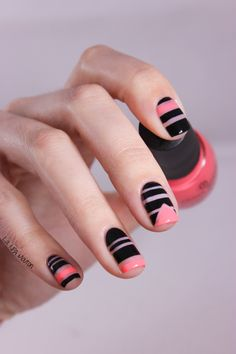 Striping Tape Negative Space Neon Bidi Nail Art 2