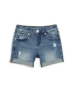 7 For All Mankind - Girl's Distressed Cuff Denim Shorts