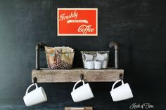 Knick of Time | Coffee Shop at Home Reclaimed Wood Coffee Station | http://knickoftime.net