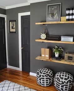 shelving in our family room? Or living room? Maybe in every room! Benjamin Moore Kendall Charcoal on the walls, trim is BM Simply White, Target rug, DIY wood plank shelves, poufs from Target My Living Room, Home And Living, Living Room Decor, Bedroom Decor, Master Bedroom, Living Room With Grey Walls, Dark Gray Walls, Small Living, Grey Painted Walls