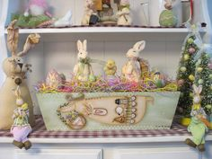 """Here comes Peter Cottontail, hopping down the bunny trail.  16"""" Bunny Box with painted gourd eggs.  Pattern by Terrye French."""