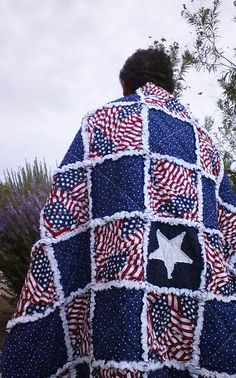 Stars and Stripes rag quilt by QuiltingPatriot on Etsy, $235.00