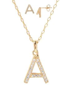 Gold & Cubic Zirconia Initial Necklace & Earring Set