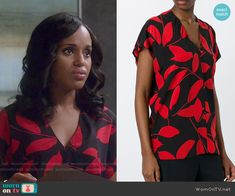 Olivia's black and red leaf print blouse on Scandal.  Outfit Details: https://wornontv.net/57825/ #Scandal  Buy it here: http://wornon.tv/36224