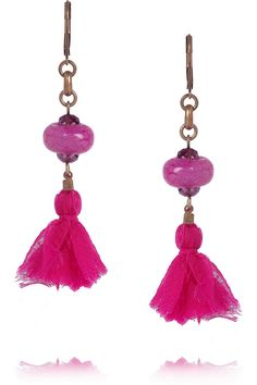 Wear them with your hair pulled back into a mussed-up chignon, complementing the bright fuchsia hue with a pink pout.