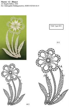 best ideas about Bobbin Lace Crochet Edging Patterns, Bobbin Lace Patterns, Flower Patterns, Lace Flowers, Crochet Flowers, Bobbin Lacemaking, Crochet Collar, Folk Embroidery, Point Lace