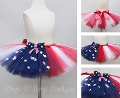 USA Patriotic 4th of July Tutu with Headband and Necklace Handmade