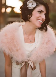 elegant curly short hairstyles with single flower for brides