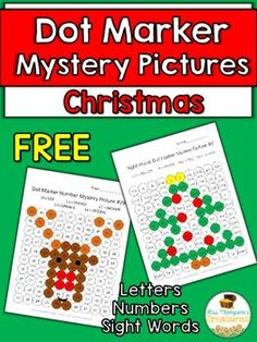Christmas Activities Free - Printables - Fun - Sight Words - NumbersYour kids will love discovering the holiday mystery pictures as they practice letters, numbers and sight words! These pages are designed to work with dot markers (bingo daubers) but you can also just use regular markers or crayons to color in the circles. **4 activities are included    -2 Christmas tree pictures (alphabet or sight words)   -2 Rudolph pictures (numbers or sight word) Get more   Christmas Print & Go Activit...