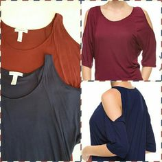 Cold shoulder top bundle 2 tops with boat neck and opened shoulders in Navy and wine.... women's small. Used only once or twice each! I cut off the pesky hanger ties in the sleeves. These are also available for individual sale upon request  $13 each Ambiance Apparel Tops