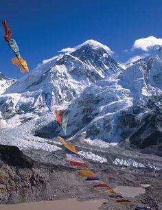 Buddhist prayer flags, Mt. Everest