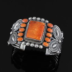 Orange Spiny Oyster Bracelet by Kirk Smith | Native American Jewelry | Navajo | wrightsgallery.com #NativeAmericanJewelry