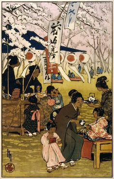 Blossom time in Tokyo. Japonisme-style woodcut by Helen Hyde showing mothers and children drinking tea and eating among cherry blossoms.