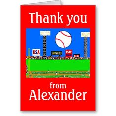 2013 Kids Baseball Personalized Thank You Notes Card