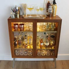 See how the queen of upcycling, Cassie Fairy, transforms an old bookcase into a Retro Cocktail Cabinet for the holidays. Bar Furniture, Upcycled Furniture, Furniture Makeover, Painted Furniture, Automotive Furniture, Automotive Decor, Furniture Design, Handmade Furniture, Furniture Refinishing