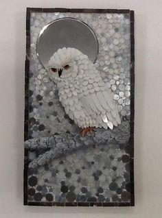 "2014 Online Art Glass Festival Mosaics 1st Place ""December Moon"" by Susan #StainedGlassOwl"