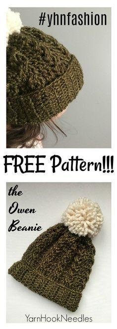 Check out the newest FREE crochet cable beanie by YarnHookNeedles. The Owen Beanie is perfect for trying crochet cables for the first time!