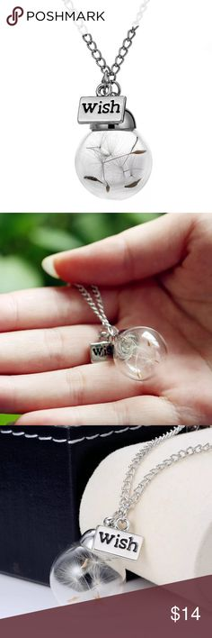 Make a Wish Dandelion seed necklace Glass bottle necklace Natural dandelion seed in glass long necklace Make A Wish Glass Bead Orb silver plated Necklace  jewelry. Sale!! Bundle any two likes from my closet receive FREE shipping! That is a $6.50 discount! Place your likes in a bundle and I will send you a private offer for free shipping!  Happy shopping! Jewelry Necklaces