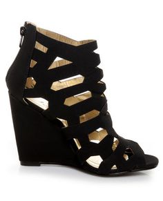d9236d7c343f Don t cha wish your wedges were hot like the Yoki Donya Black Cutout Cage  Wedge Booties  These matte vegan leather cage booties have chic laser  cutouts from ...