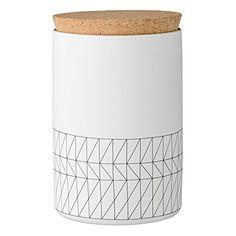 Amazing Bloomingville Ceramic Carina Jar with Cork Lid, Small, White/Black