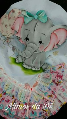 Elefoa pintura em tecido Belly Painting, Tole Painting, Fabric Painting, Baby Crib Bumpers, Cartoon Painting, Baby Drawing, Arm Knitting, Baby Elephant, Animal Paintings