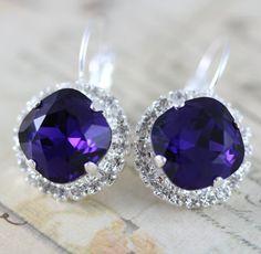 Purple Crystal Earrings Bridal Earrings by inspiredbyelizabeth, $32.00