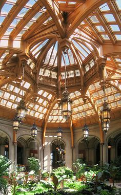 Winter Garden Room, a glass-ceiling solarium, of the Vanderbilt Estate